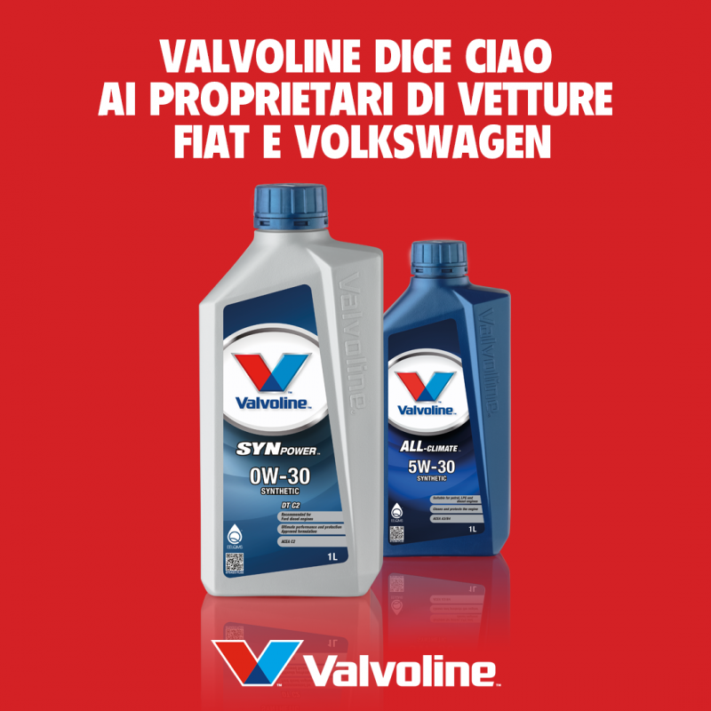 Lubrificanti: Valvoline aggiunge nuove raccomandazioni FIAT e VW