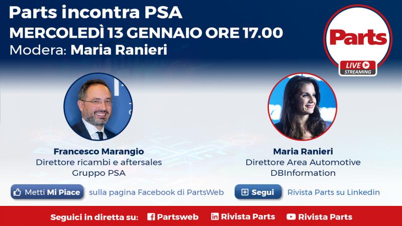 Parts incontra PSA Groupe, in diretta mercoledi 13 gennaio alle 17