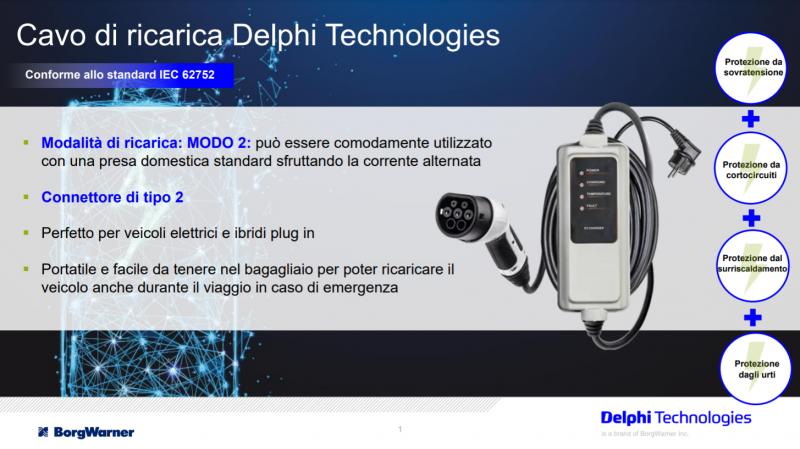 Elettronica di potenza: cavo di ricarica Delphi Technologies