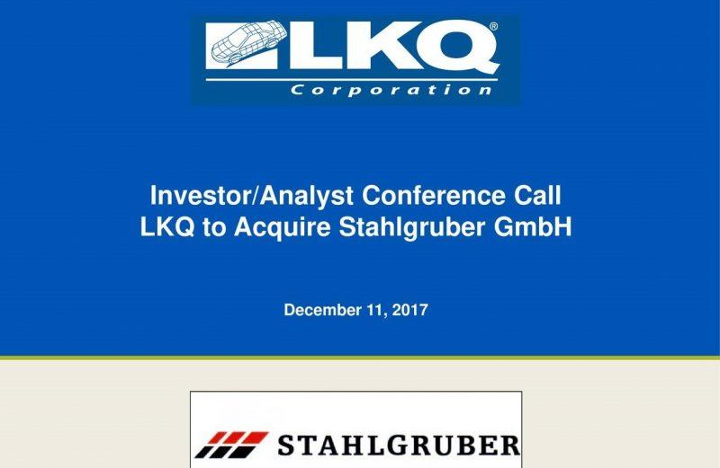 LKQ acquisisce Stahlgruber per 1,5 miliardi di euro