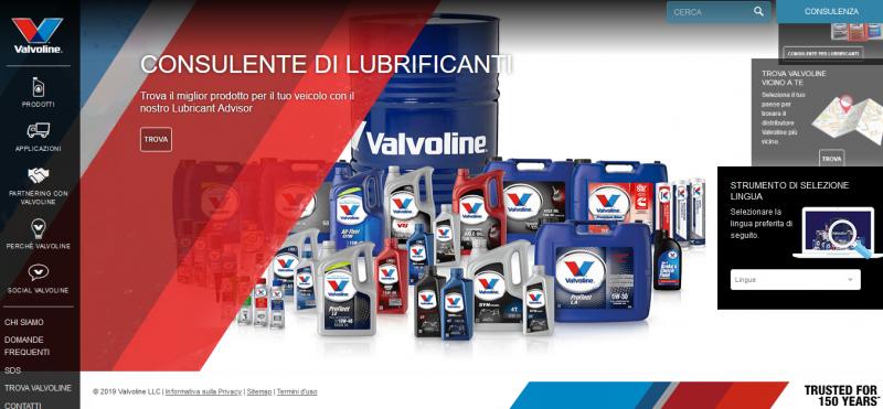 Valvoline: nuovo sito web in italiano